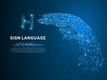 手语H信件,手多角形空间低落多样式 人沈默通信,连接wireframe传染媒介 皇族释放例证