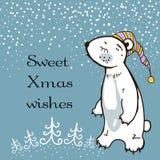 手速写了与困女用连杉衬裤熊的贺卡 结束的所有圣诞节编辑eps8例证零件可能性导航 甜Xmas愿望 免版税库存照片