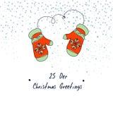 手速写了圣诞节与手套的贺卡 12月25日 圣诞节装饰常青树开花问候一品红红色结构树 冬天传染媒介例证 免版税图库摄影