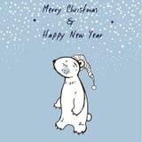手速写了圣诞节与逗人喜爱的困熊的贺卡 圣诞快乐和新年好 冬天传染媒介例证 库存图片