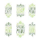 手速写的印刷元素 餐馆标签 免版税库存图片