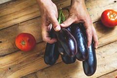 手采取在木板的少量茄子 免版税库存照片