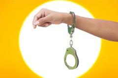 手铐的手妇女 免版税库存照片
