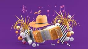 手风琴和一个牛仔帽在笔记和五颜六色的球中在紫色背景 向量例证