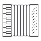 手风琴稀薄的线象,音乐和仪器,口琴标志,向量图形,在白色背景的一个线性样式 向量例证