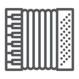 手风琴线象,音乐和仪器,口琴标志,向量图形,在白色背景的一个线性样式 向量例证