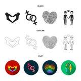 手,女权主义,指纹 在动画片样式的同性恋者集合汇集象导航标志储蓄例证网 向量例证