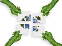 手,生态标志概念 库存图片