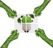 手,生态标志行星地球 库存图片