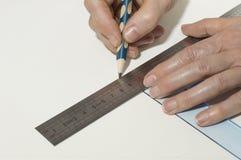 手画与铅笔的一条线 免版税库存照片