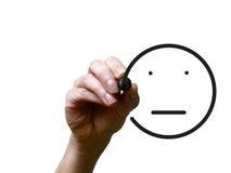 手画与黑标志的面带笑容 免版税库存照片