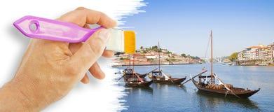 手画典型的葡萄牙小船 库存照片
