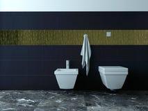 洗手间和净身盆反对黑瓦片 库存图片