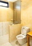 洗手间在现代卫生间里,内部舒适的卫生间 库存照片