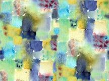 手画水彩几何无缝的瓦片绘画 免版税图库摄影