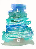 手画抽象圣诞树 免版税库存照片
