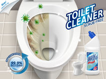 洗手间擦净剂广告 库存例证