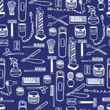 手黎明理发店设备的无缝的样式 手拉的字法墨水 免版税库存照片