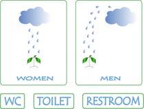 洗手间标志 蓝色云彩,雨水滴在绿色植物倾吐 免版税库存图片