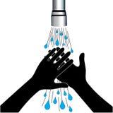 手洗涤净水轻拍 免版税库存照片