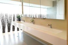 手洗涤的水槽行在现代公共厕所的 免版税库存照片