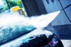 手洗车清洁 免版税库存照片
