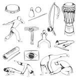 手画Capoeira元素的套 免版税库存图片