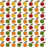 手drwn苹果无缝的传染媒介样式 免版税库存照片