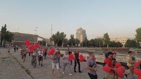 扎波罗热,乌克兰-莒勒石19 2019年 竞选在竞选人民前的示范去与红色球 影视素材
