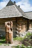 扎波罗热-乌克兰, 2015年5月02日:木防护设防在Zaporizhian哥萨克人博物馆在Khorty海岛上的  图库摄影
