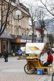 扎科帕内, oscypek乳酪销售在Krupowki的 免版税库存照片