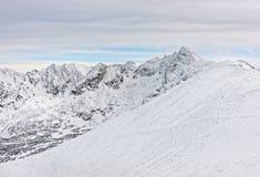 扎科帕内Kasprowy Wierch峰顶在Tatra在冬天登上 免版税库存图片