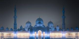 扎耶德Grand Mosque回教族长在晚上阿布扎比,阿拉伯联合酋长国 库存图片