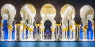扎耶德Grand Mosque阿布扎比回教族长段落  免版税图库摄影
