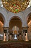 扎耶德Grand Mosque,阿布扎比,阿拉伯联合酋长国回教族长的祷告室 库存照片