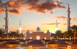扎耶德Mosque回教族长在阿布扎比,阿拉伯联合酋长国 库存照片