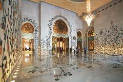 扎耶德Mosque,阿布扎比,阿拉伯联合酋长国回教族长 免版税库存照片