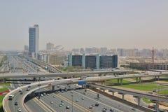 扎耶德Road回教族长在迪拜市 库存照片