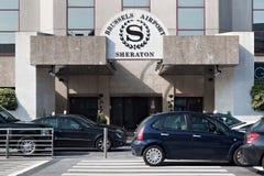 扎芬特姆,比利时- 2014年9月04日:对喜来登酒店的入口在布鲁塞尔附近扎芬特姆国家机场  库存照片