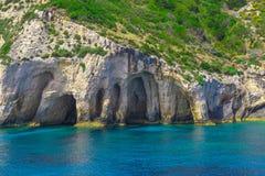 扎金索斯州,希腊-令人惊讶的蓝色洞旅行目的地 免版税库存图片