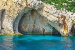 扎金索斯州,希腊-令人惊讶的蓝色洞旅行目的地 库存照片