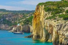 扎金索斯州,希腊-令人惊讶的蓝色洞旅行目的地 免版税库存照片