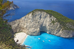 扎金索斯州海湾击毁的顶视图在希腊 免版税库存图片