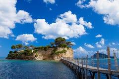 扎金索斯州,一座桥梁到海岛 免版税图库摄影