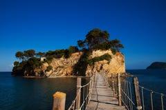 扎金索斯州,一座桥梁到海岛 库存照片