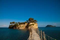 扎金索斯州,一座桥梁到海岛 免版税库存图片