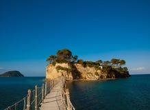 扎金索斯州,一座桥梁到海岛 免版税库存照片