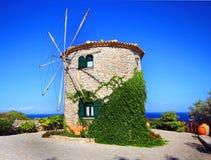 扎金索斯州,希腊-风车 库存照片