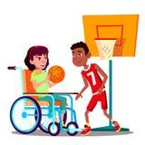 打与朋友传染媒介的轮椅的愉快的残疾女孩篮球 按钮查出的现有量例证推进s启动妇女 库存例证