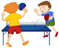打乒乓球的人们 皇族释放例证